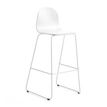 Barová židle Gander, výška sedáku 790 mm, lakovaná skořepina, bílá