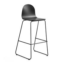 Barová židle Gander, výška sedáku 790 mm, lakovaná skořepina, černá
