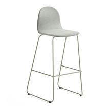 Barová židle Gander, výška sedáku 790 mm, polstrovaná, zelenošedá