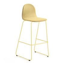 Barová židle Gander, výška sedáku 790 mm, polstrovaná, hořčicová