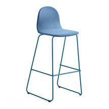 Barová židle Gander, výška sedáku 790 mm, polstrovaná, modrá
