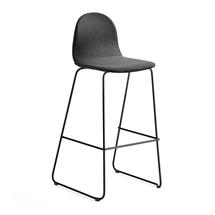 Barová židle Gander, výška sedáku 790 mm, polstrovaná, šedá