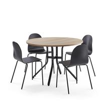 Sestava Various + Gander, 1 stůl a 4 černé židle