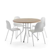Sestava Various + Gander, 1 stůl a 4 bílé židle