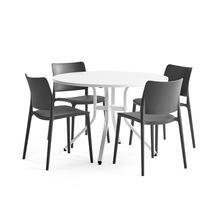 Sestava Various + Rio, 1 stůl a 4 antracitové židle