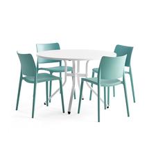 Sestava Various + Rio, 1 stůl a 4 tyrkysové židle