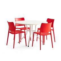 Sestava Various + Rio, 1 stůl a 4 červené židle