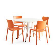 Sestava Various + Rio, 1 stůl a 4 oranžové židle