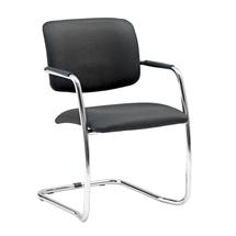 Konferenční židle Simcoe, textilní potah, černá, chrom