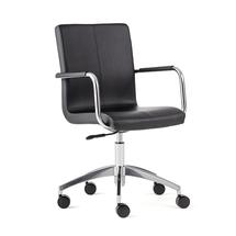 Konferenční židle Delta, otočná, černá syntetická kůže, chrom