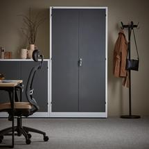 Kancelářská skříň Style, 1900x1000x400 mm, bílá, tmavě šedé dveře