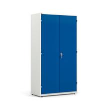 Kovová skříň Spirit, 1900x1020x500 mm, bílá, modré dveře