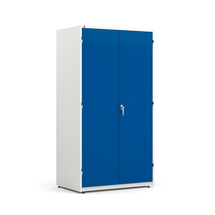 Kovová skříň Spirit, 1900x1020x635 mm, bílá, modré dveře