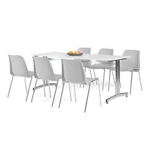 Nábytkový set Sanna + Sierra, 1 stůl a 6 šedých židlí