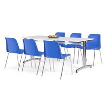 Nábytkový set Sanna + Sierra, 1 stůl a 6 modrých židlí