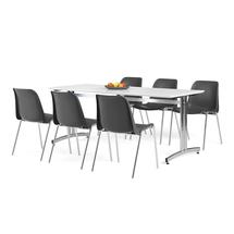 Nábytkový set Sanna + Sierra, 1 stůl a 6 černých židlí