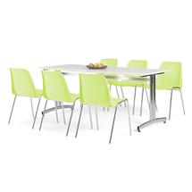 Nábytkový set Sanna + Sierra, 1 stůl a 6 limetkových židlí