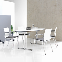 Konferenční židle Whistler, s područkami, šedá/bílá