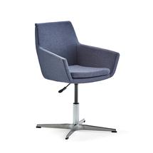 Konferenční židle Fairfield, leštěný hliník, modrošedá