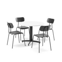 Jídelní set Sanna + Reno: 1 stůl Ø900 mm, bílý + 4 židle, černé