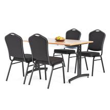 Jídelní sestava: stůl 1200x800 mm, buk + 4 židle, černá/černý potah