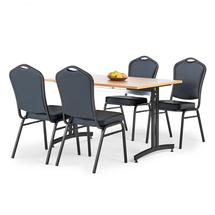 Jídelní sestava Sanna + Chicago: 1 stůl 1200x800 mm, buk + 4 židle, černá/černá koženka