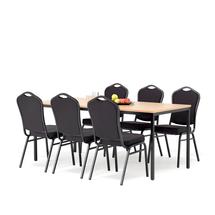 Jídelní set Jamie + Chicago: 1 stůl 1800x800 mm, buk + 6 židlí, černá/černý potah