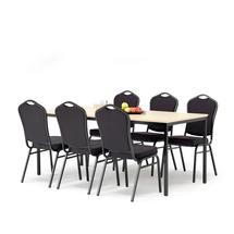 Jídelní set Jamie + Chicago: 1 stůl 1800x800 mm, bříza + 6 židlí, černá/černý potah
