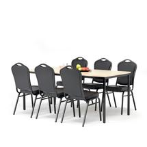 Jídelní set Jamie + Chicago: 1 stůl 1800x800 mm, bříza + 6 židlí, černá/černá koženka