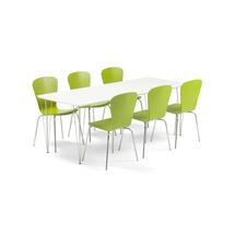 Jídelní set Zadie + Milla, 1 stůl a 6 zelených židlí