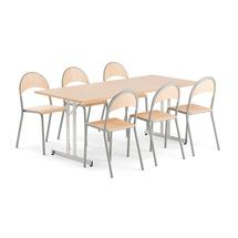 Jídelní set Emily + Tampa, 1 stůl a 6 židlí v barvě buk