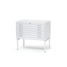 Výkresová skříň Sketch, 6 zásuvek, A1, deska lamino, bílá