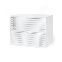 Výkresová skříň Sketch, 12 zásuvek, A0, deska plech, bílá