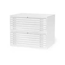 Výkresová skříň Sketch, 12 zásuvek, A0, deska lamino, bílá