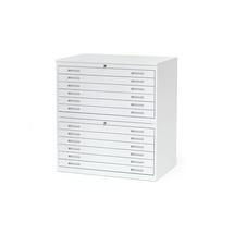 Výkresová skříň Sketch, 12 zásuvek, A1, deska plech, bílá