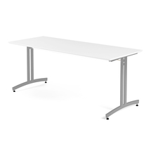 Jídelní stůl Sanna, 1800x700 mm, HPL, bílá, hliníkově šedá