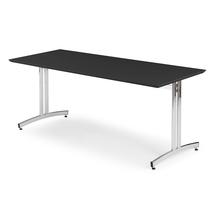 Jídelní stůl Sanna, 1800x700 mm, HPL, černá, chrom
