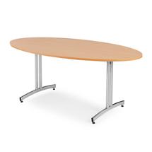 Oválný jídelní stůl Sanna, 1800x1000 mm, buk, chrom