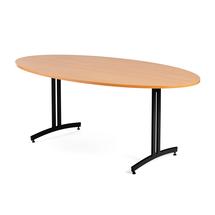 Oválný jídelní stůl Sanna, 1800x1000 mm, buk, černá