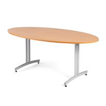 Oválný jídelní stůl Sanna, 1800x1000 mm, buk, hliníkově šedá