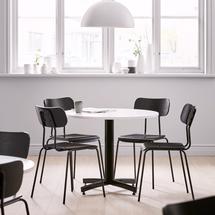 Kulatý jídelní stůl Sanna, Ø900 mm, bílá, černá