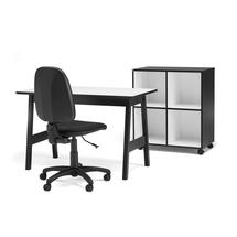 Sestava: stůl Nomad + židle Dover + mobilní skříňka Nomad