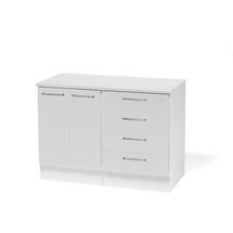 Uzavřená skříňka + zásuvková sekce + prac. deska, bílá/bílá,