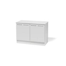 2 uzavřené skříňky + prac. deska, bílá/bílá, 876x1226x580mm
