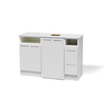 Uzavř.skříňka střed + 2 skříňky na odpad + prac. deska, bílá