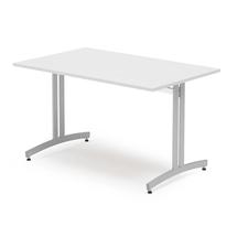 Jídelní stůl Sanna, 1200x800 mm, bílá/hliníkově šedá