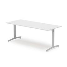 Jídelní stůl Sanna, 1800x800 mm, bílá/hliníkově šedá