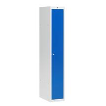 Šatní skříňka Coach, nesmontovaná, 1 sekce, 1 dveře, šedá/modré dveře