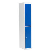 Šatní skříňka Coach, nesmontovaná, 1 sekce, 2 dveře, šedá/modré dveře