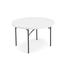 Kulatý skládací stůl Mika, Ø1220 mm, plastová deska, černá konstrukce